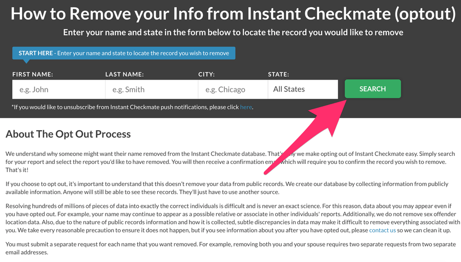 How To Opt Out From Instant Checkmate 2020 Update