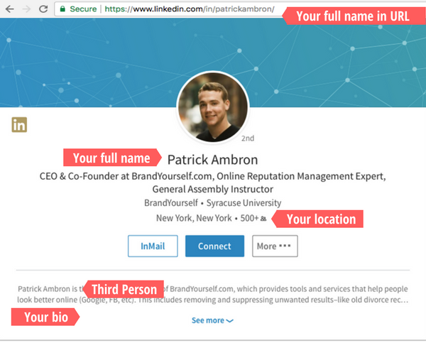 Linkedin, patrick ambron, profile optimization