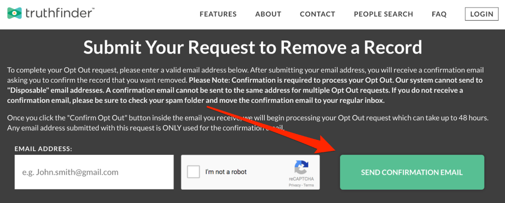 Request your confirmation email to opt out