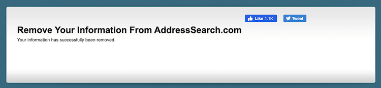 address search removal confirmation