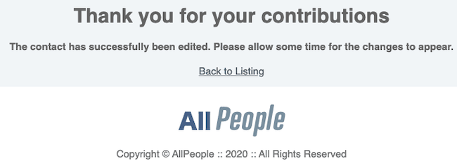 allpeople opt out confirmation
