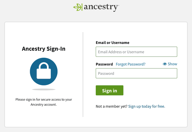 ancestry.com sign in
