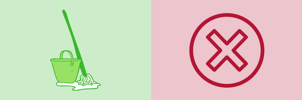 BrandYourself, green mop and bucket on light green background, red x icon on pink background