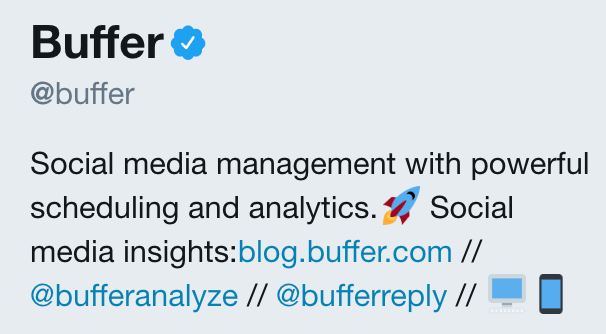 Buffer's Twitter example