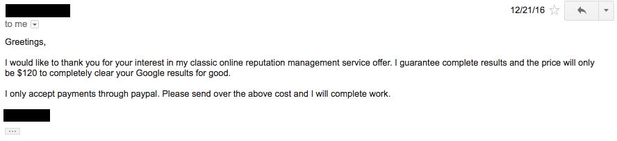 cheap reputation management pricing screenshot