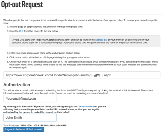 corporationwiki completed opt out form