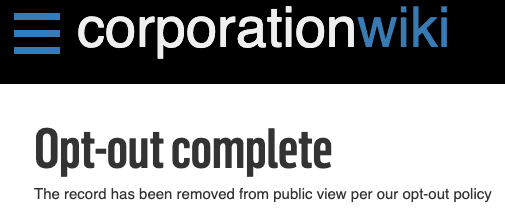 corporationwiki removal confirmation