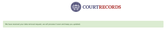 courtrecords.org removal confirmation