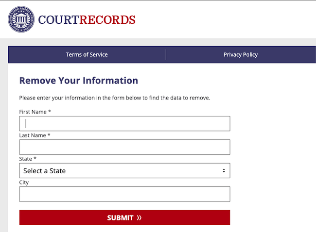courtrecords.org website