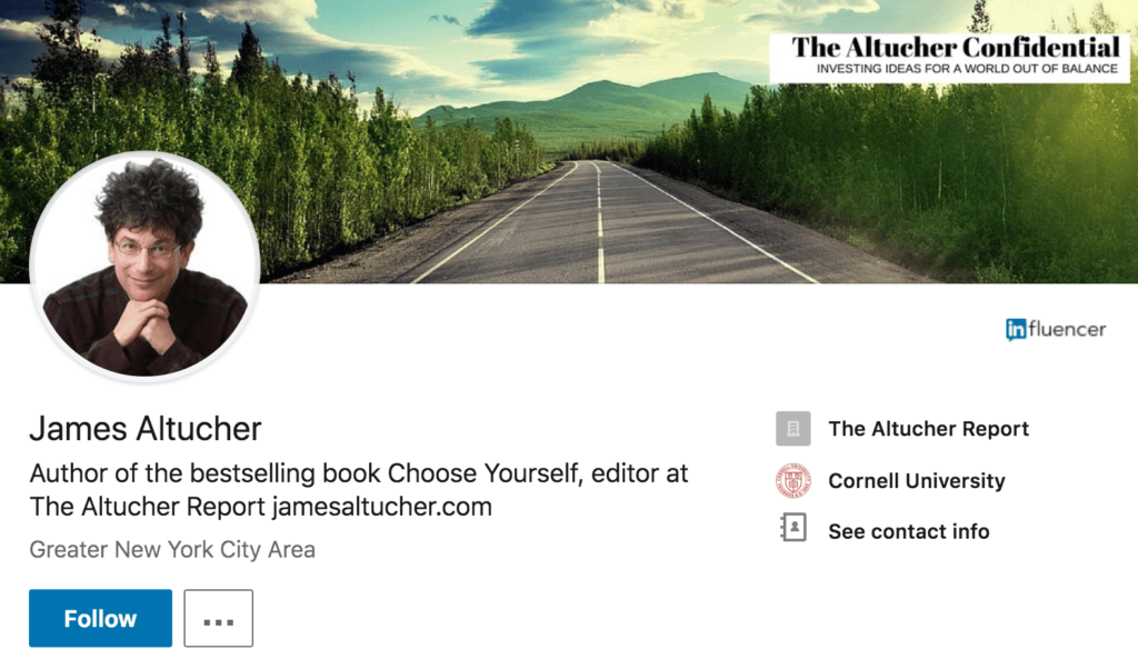 Example LinkedIn headline of James Altucher
