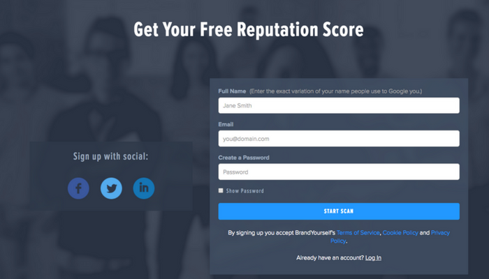 Get your free reputation score when you sign up.
