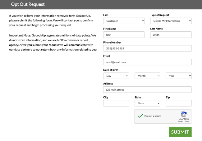 golookup form