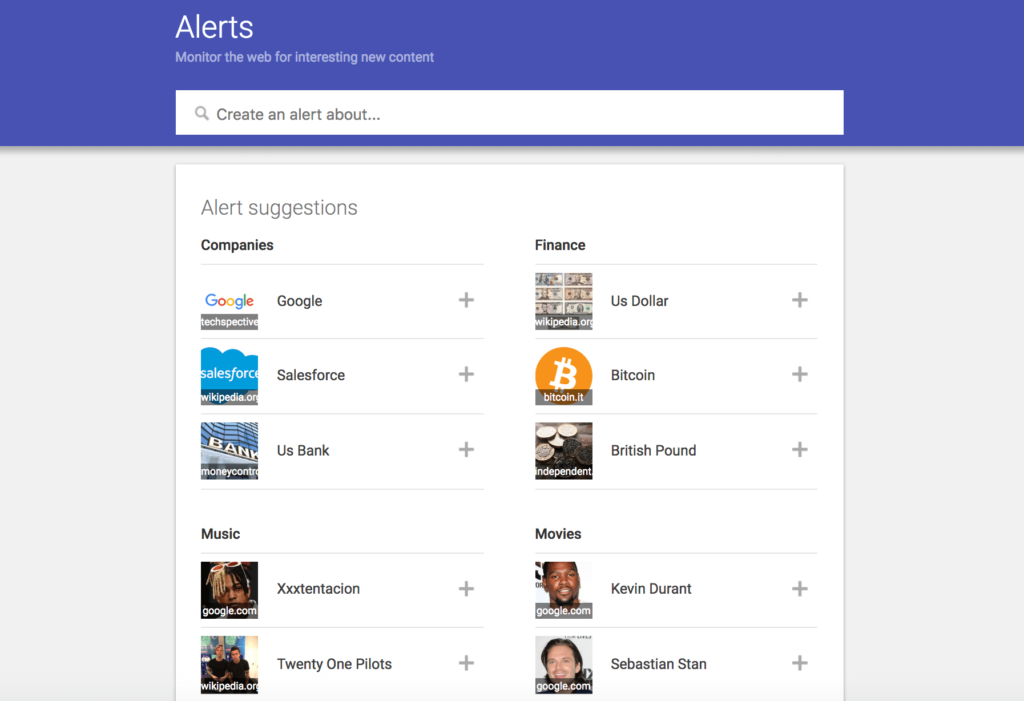 Google alerts set up screen
