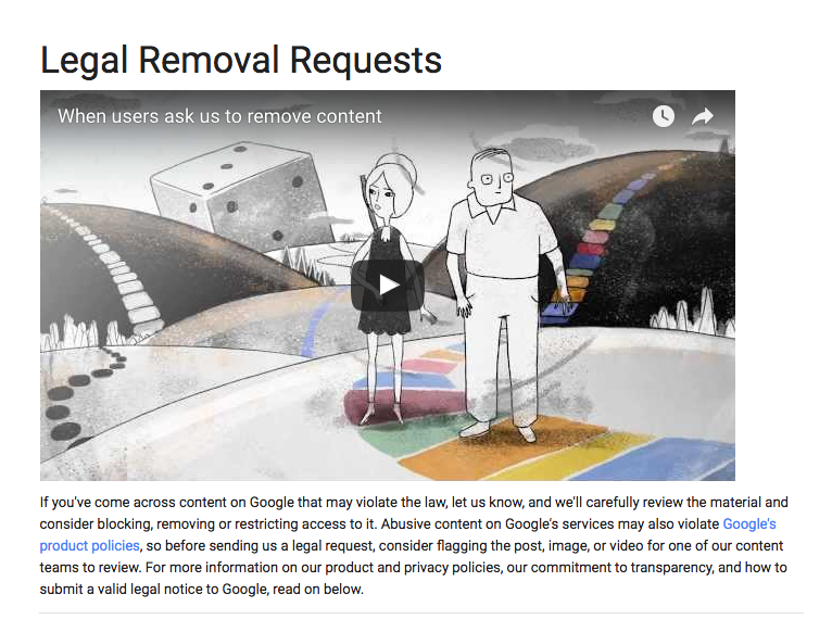 google takedown request screenshot as an option for removing a ripoff report