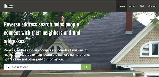 hauziz reverse address search
