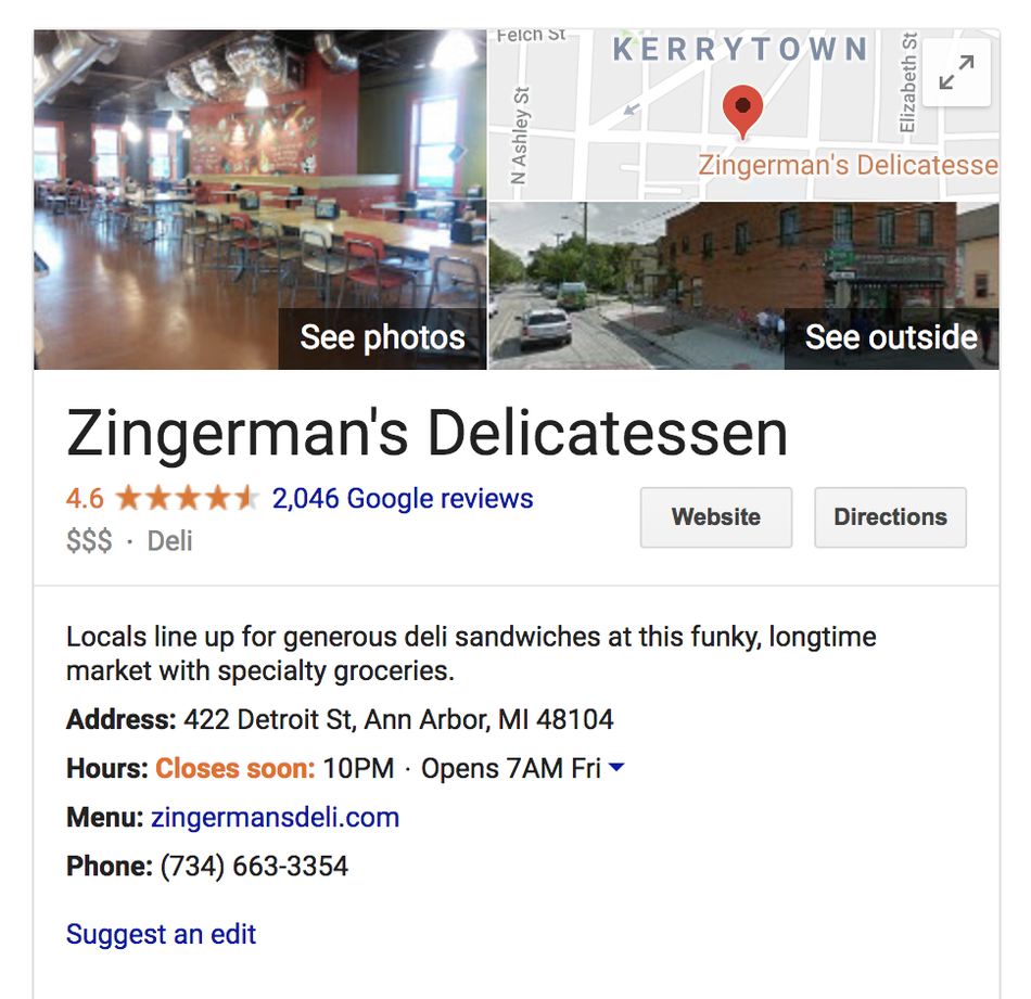 An example result for how to delete Google reviews
