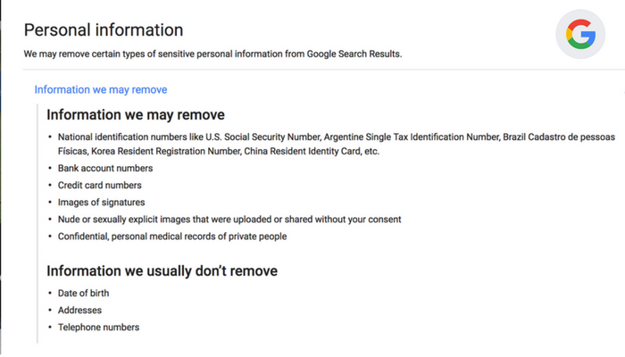 personal information that you can get removed from google search results