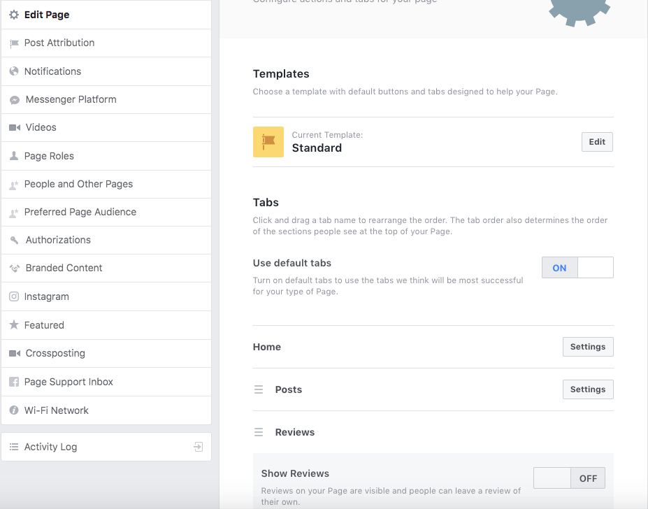 The dashboard option for how to remove reviews from Facebook