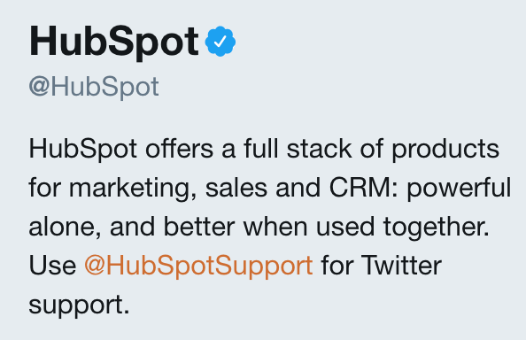 HubSpot Twitter bio screenshot