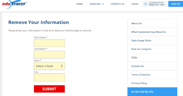 infotracer opt out form