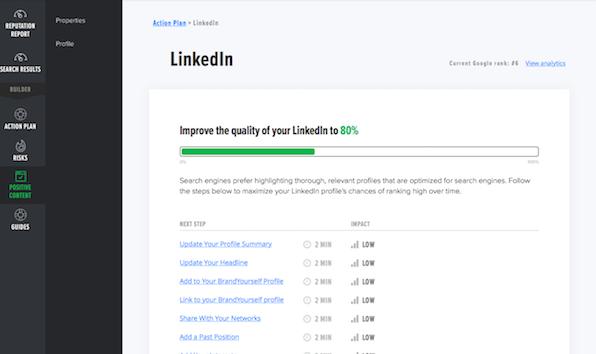BrandYourself dashboard, linkedin, optimization steps