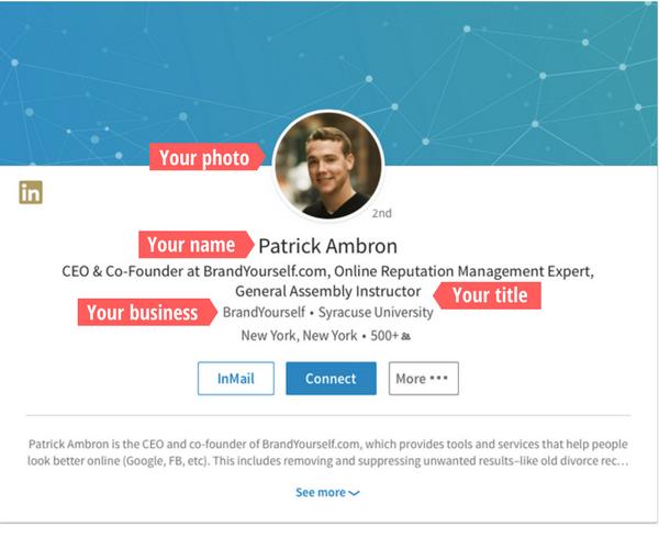 Patrick Ambron, Linkedin profile, optimized