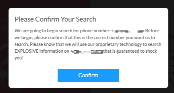 namereveal confirm search