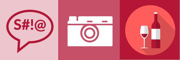 BrandYourself, 3 icons, dialogue, camera, wine