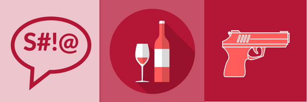 BrandYourself, 3 icons on red backgrounds, dialogue box, wine, gun