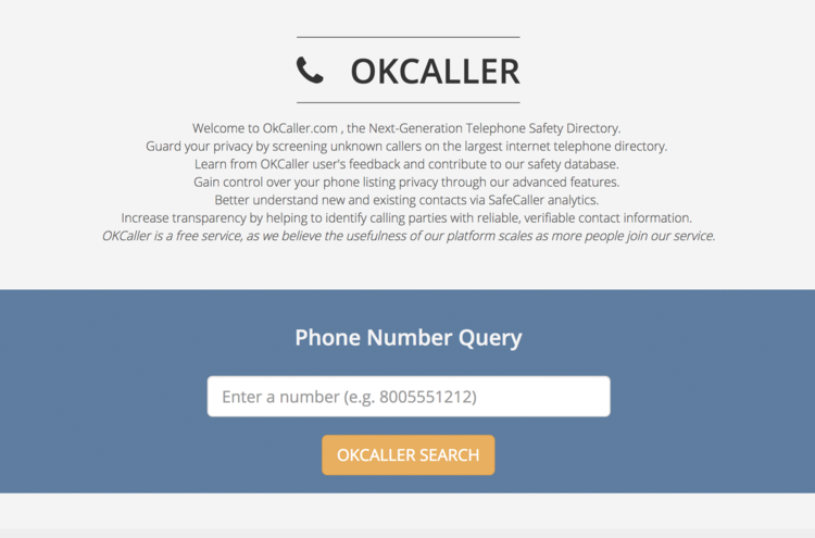OkCaller main search field in dashboard