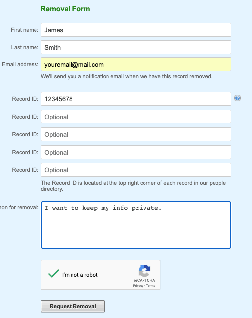 people by name completed form