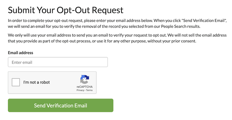 opt out submission confirmation