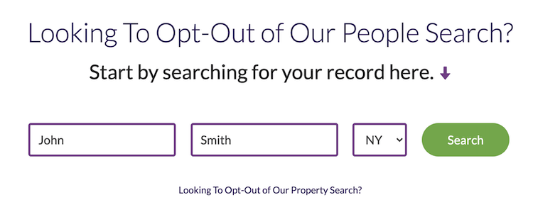 search field for peoplelooker opt out