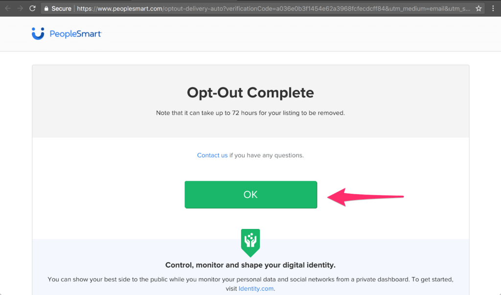 The PeopleSmart opt out process is now complete