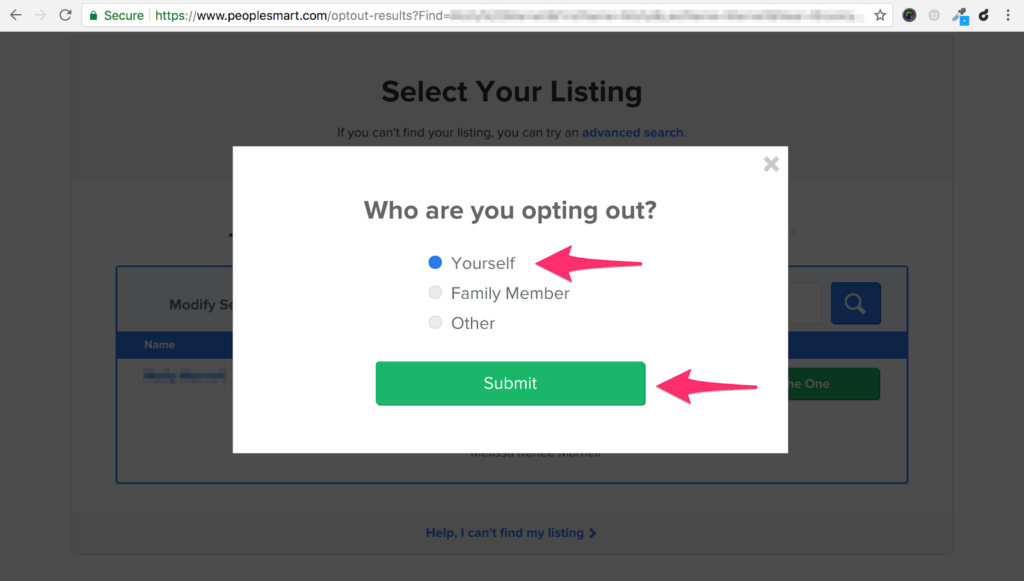 Select who you are opting out for on PeopleSmart