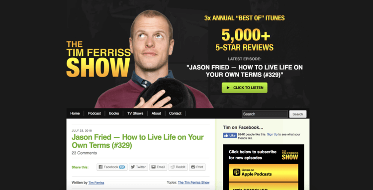 A great personal website example featuring Tim Ferriss
