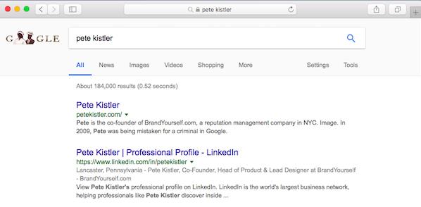 BrandYourself, Pete Kistler, Search Results