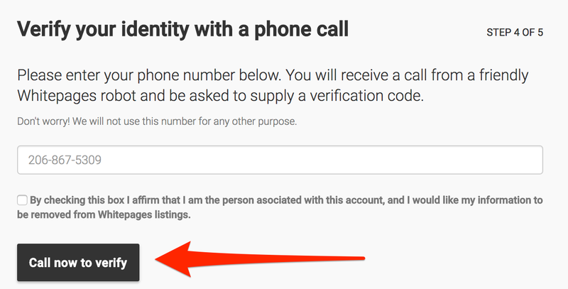 Phone call verification for removal