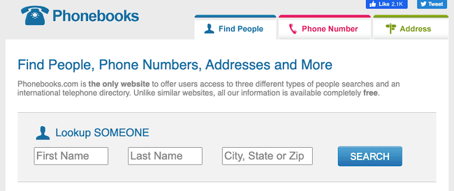 phonebooks.com website