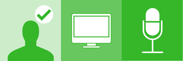 BrandYourself, silhouette, monitor, microphone icons in green