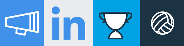 BrandYourself, icons on blue backgrounds, megaphone, linkedin, trophy, volleyball