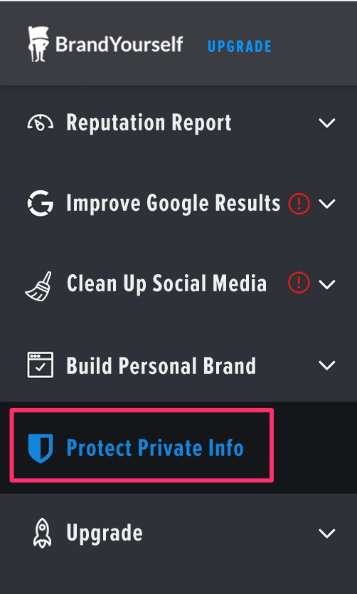 Protect your info new feature section