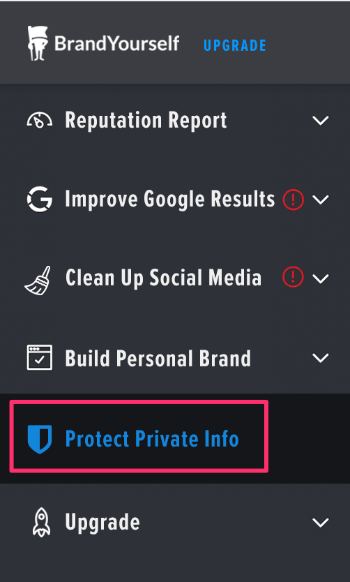 Whitepages protect info section in the dashboard