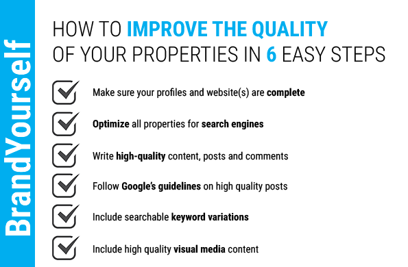 BrandYourself checklist, how to improve the quality of your properties in 6 easy steps, personal branding