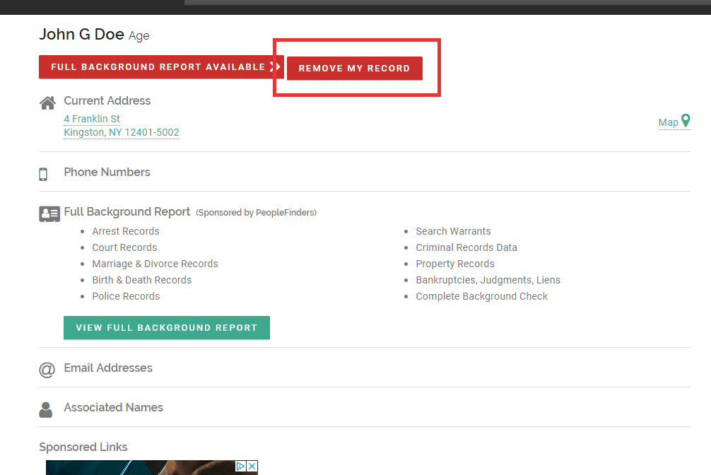 Click the red button to initiate removal from FastPeopleSearch