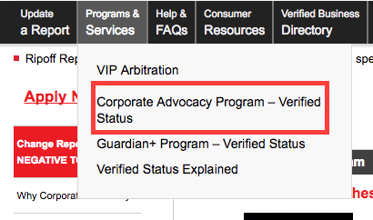 ripoff report corporate advocacy program option