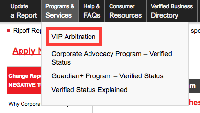ripoff report vip arbitration option for removal