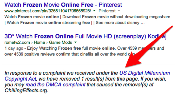 DMCA search result removal