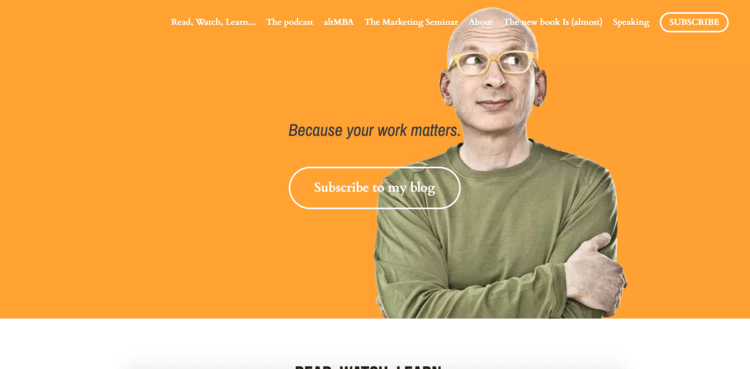 Yellow background example of the Seth Godin personal website