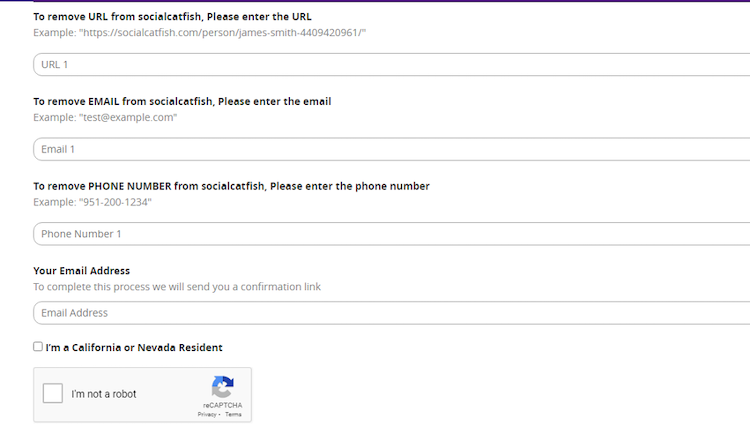 social catfish opt out form